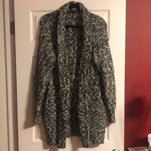 Express black/white long wool sweater